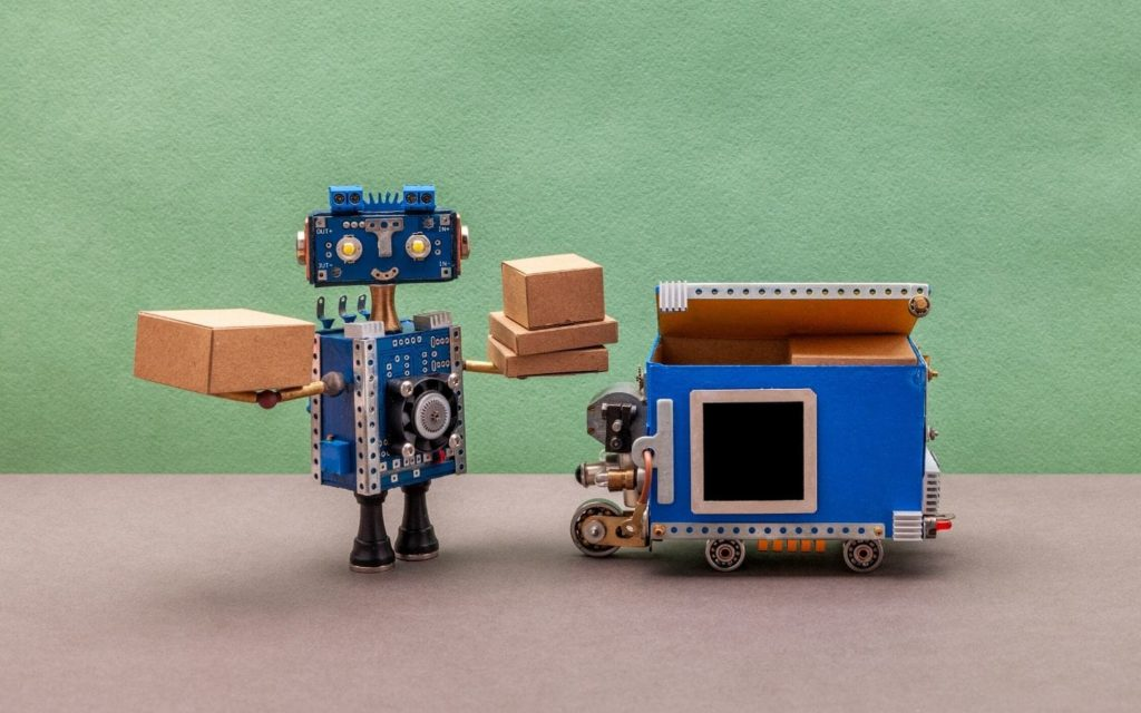 robotic process automation robot holding boxes